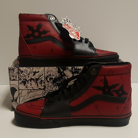 e80cfd21138 Vans X Marvel Sk8 Hi Deadpool Men s Shoes Limited